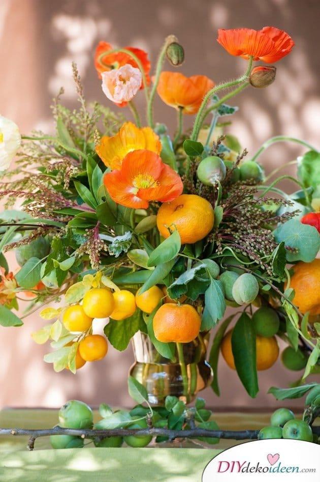 Obst Deko zur Hochzeit – dekorieren mit Zitrusfrüchten