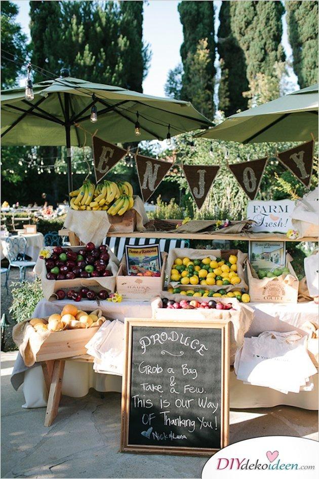 Obst Deko zur Hochzeit – Gastgeschenk Ideen