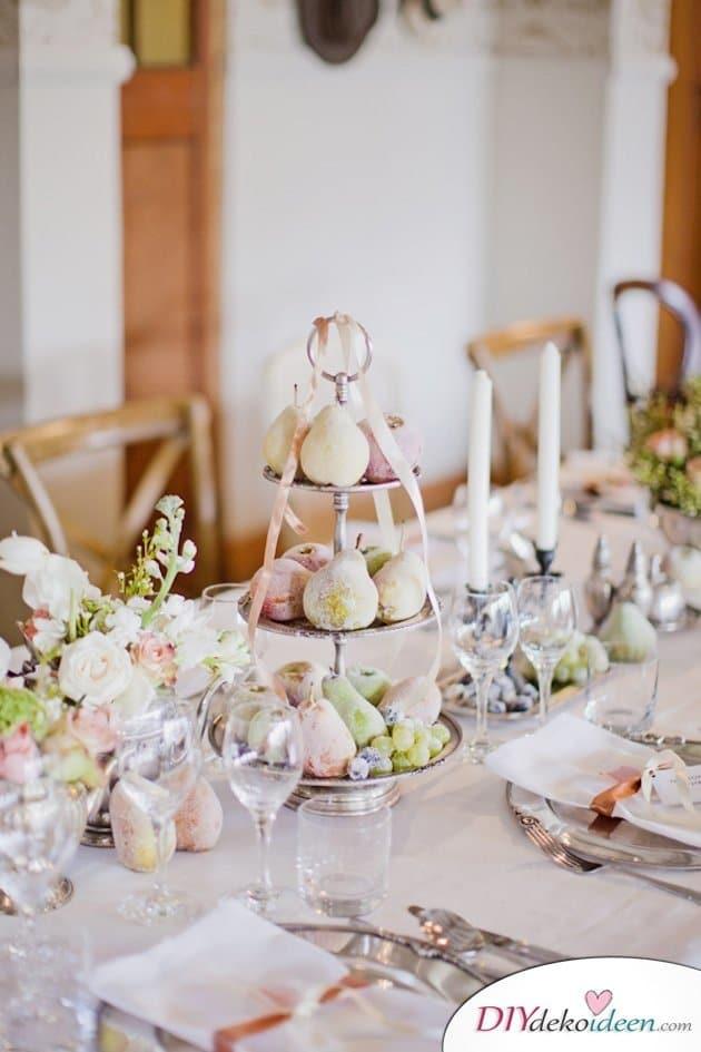 Obst Deko zur Hochzeit – Tischschmuck deko