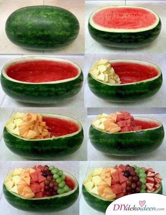 Obst Deko zur Hochzeit – Melonen Obstsalat