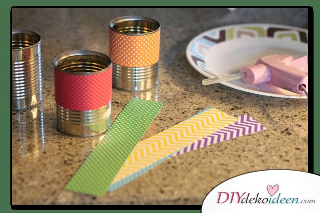 Schulsachen selber basteln - Regenbogendosen für Wachsmalkreiden Anleitung 01