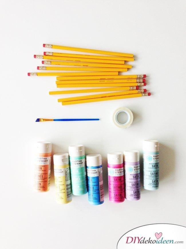 Schulsachen selber basteln - Bunte Bleistifte - Materialien