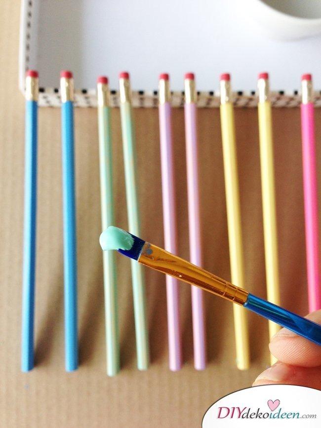 Schulsachen selber basteln - Bunte Bleistifte - Anleitung