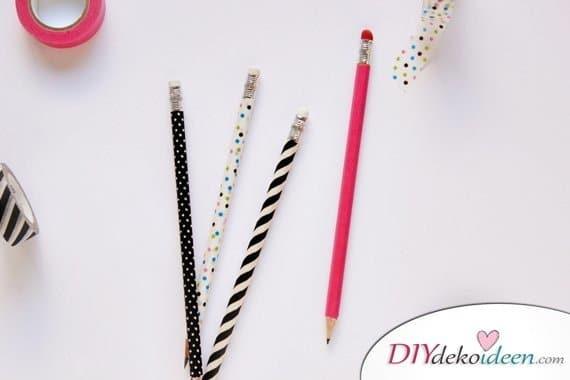 Schulsachen selber basteln - Stifte mit Washi-Tape