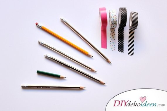 Schulsachen selber basteln - Stifte mit Washi-Tape - Material