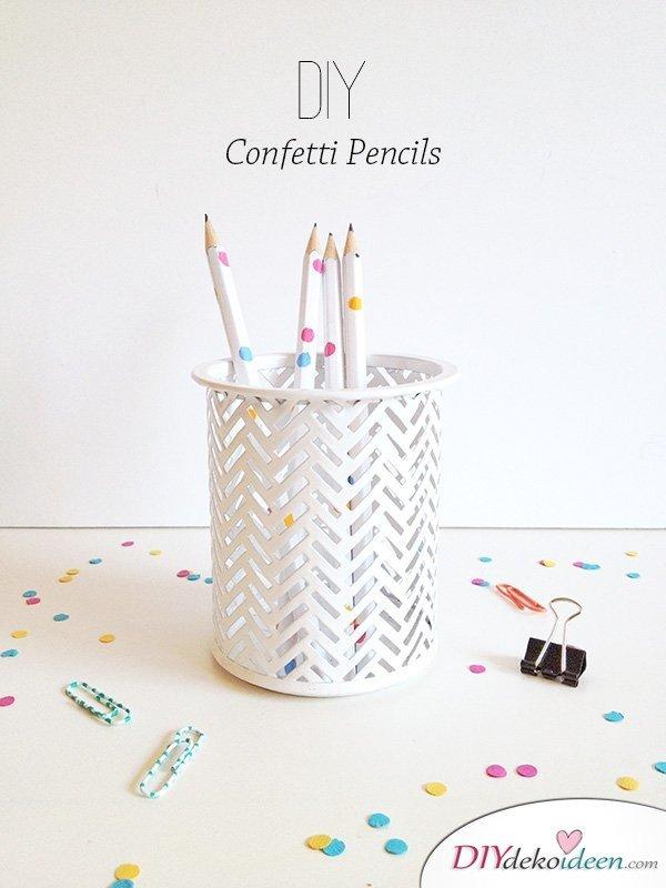 Schulsachen selber basteln - Konfetti-Bleistifte