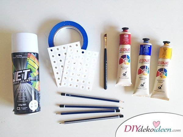 Schulsachen selber basteln - Konfetti-Bleistifte - Materialien