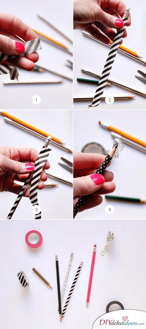 Schulsachen selber basteln - Stifte mit Washi-Tape - Anleitung