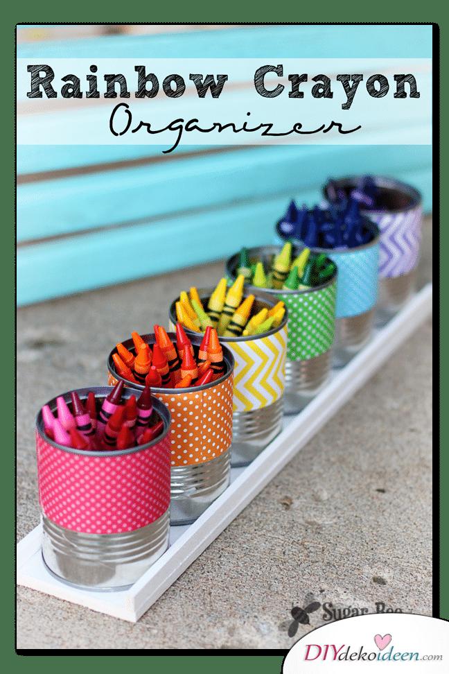 Schulsachen selber basteln - Regenbogendosen für Wachsmalkreiden