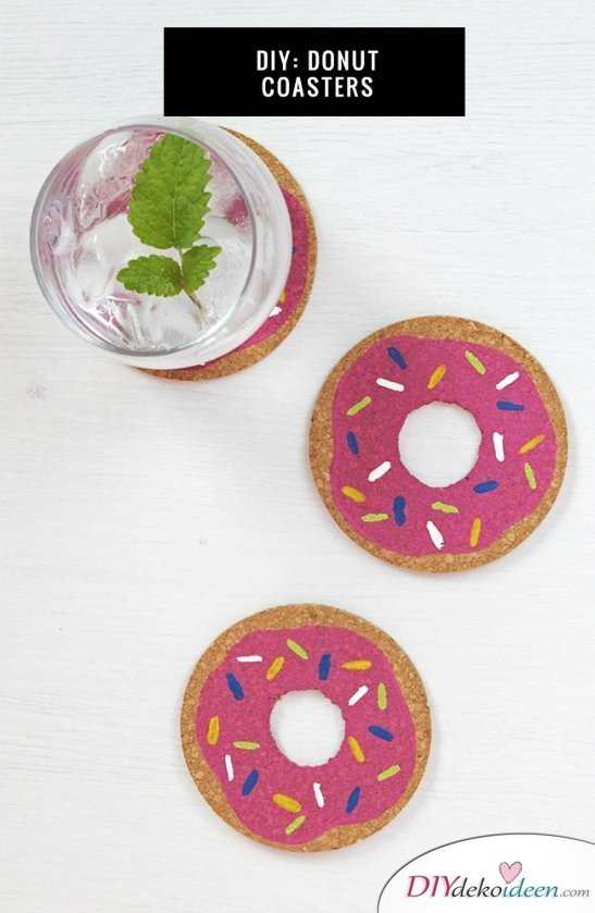 30 Sommerparty Deko Ideen - DIY Donut Untersetzer