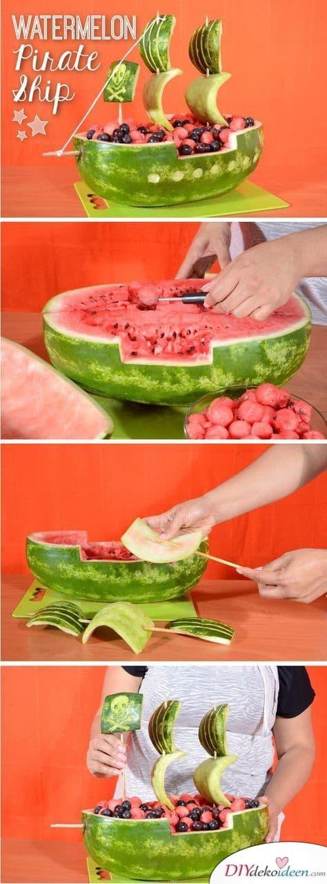 30 Sommerparty Deko Ideen - Melonen Piratenschiff