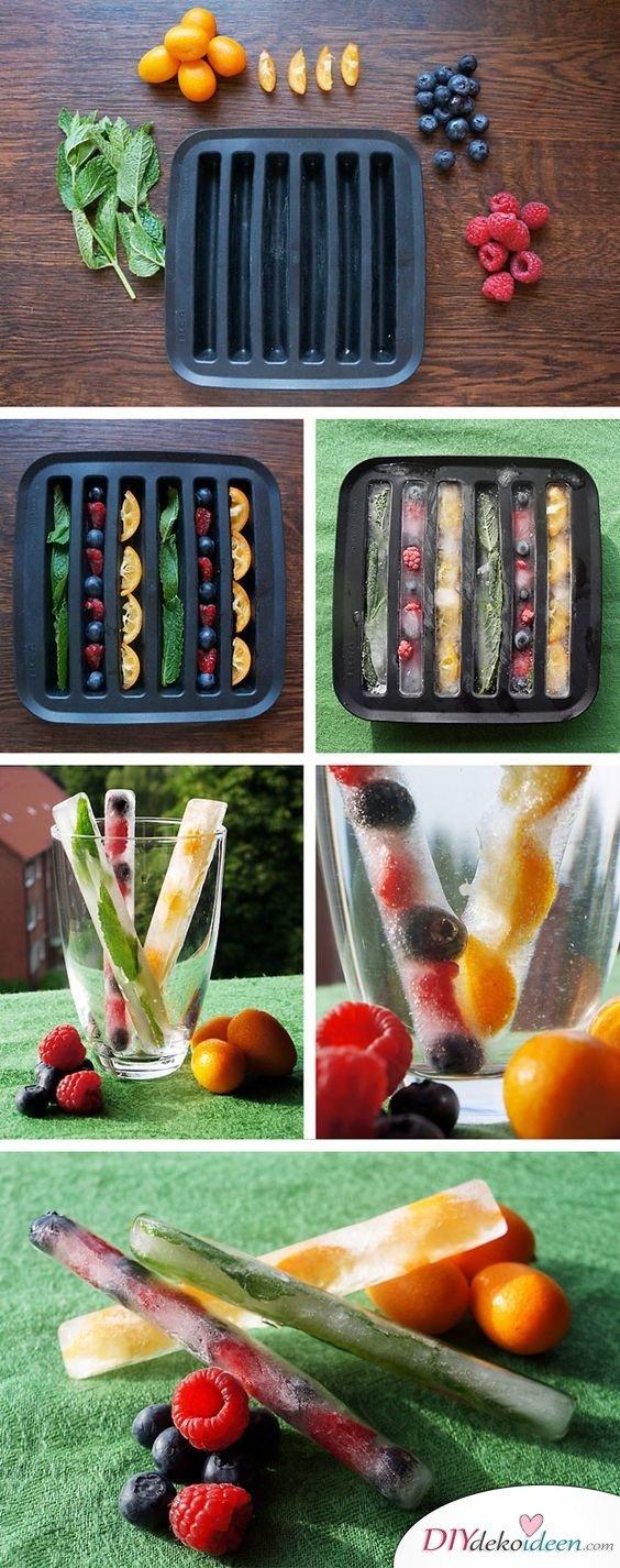 30 Sommerparty Deko Ideen - Frucht Eiswürfel
