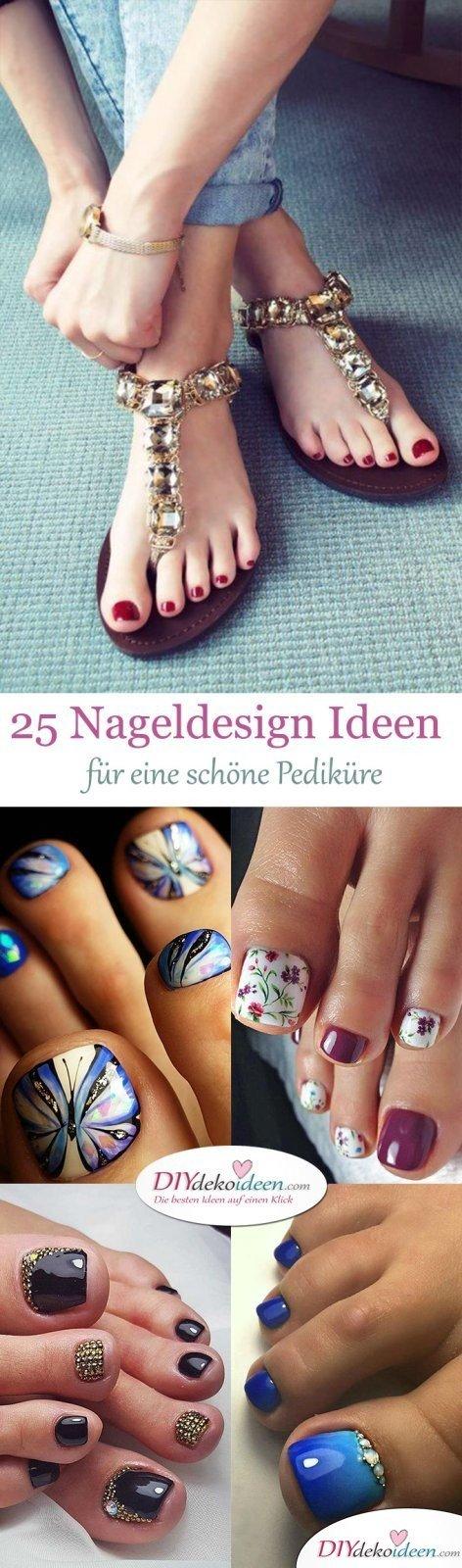 25 Pediküre Ideen für schöne Zehennägel Designs