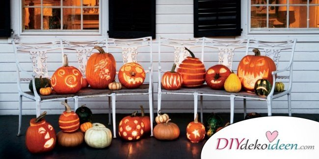 20 Ideen für Deko mit Kürbissen - Halloween Kürbisschnitzen