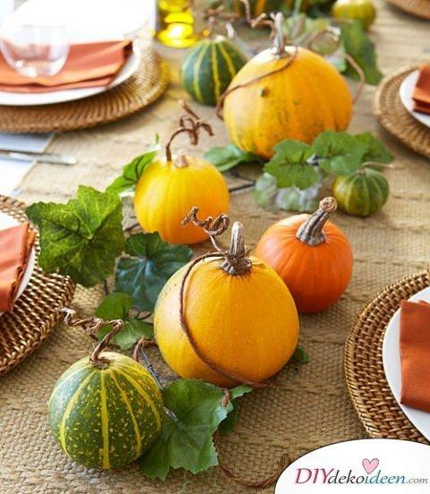 20 Ideen für Deko mit Kürbissen - Herbst Tischdeko