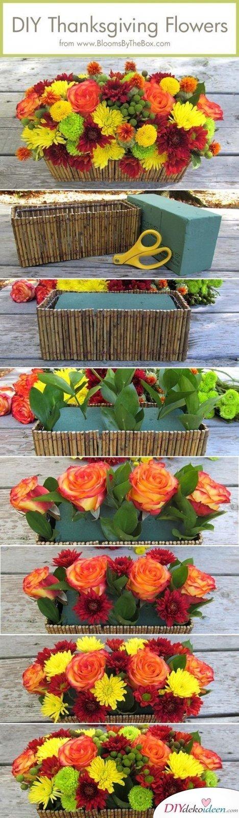 Erntedankfest Deko selber machen - Deko mit Blumen