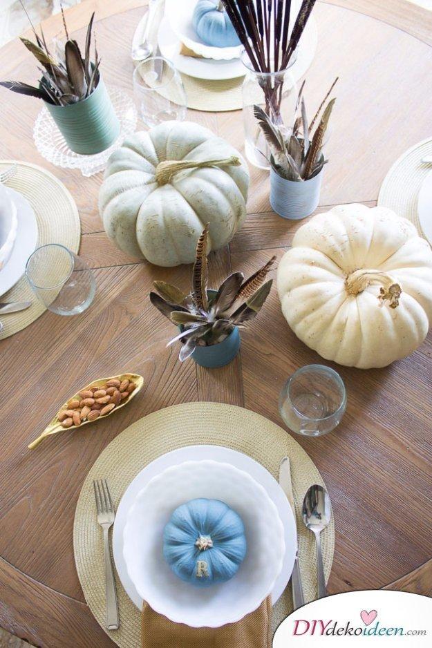Erntedankfest Deko selber machen - Tischdeko basteln