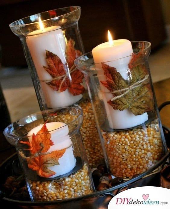 Erntedankfest Deko selber machen - Kerzenglas Herbst
