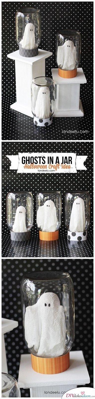 15 Halloween Bastelideen + Anleitungen - Geister in Gläsern