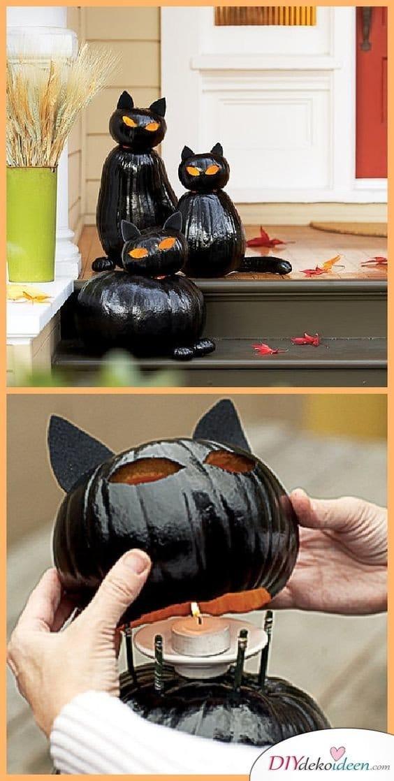Halloween Deko selber machen - DIY Katzen Kürbis