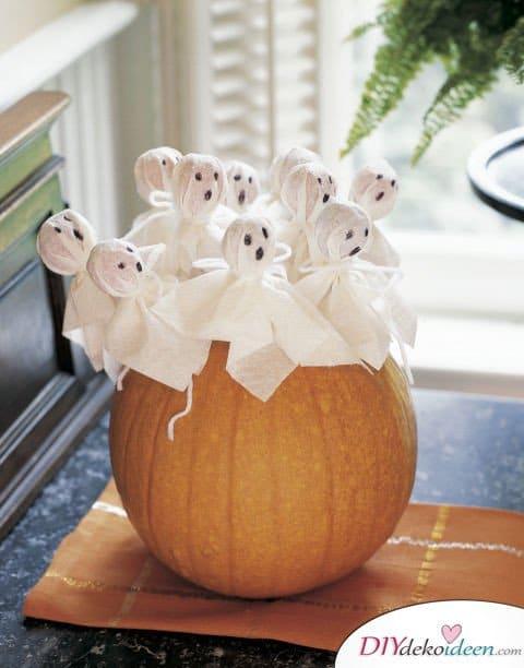 Halloween Deko selber machen - DIY Halloween Geister Lutscher