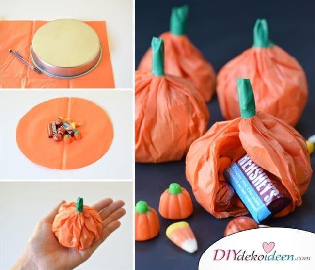 Halloween Deko selber machen - DIY Kürbis Deko Süßigkeiten Idee
