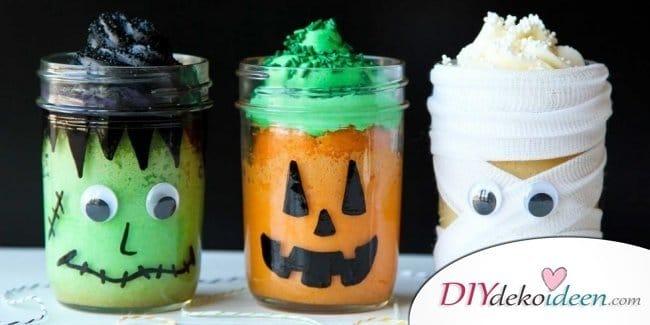 Einfache DIY Bastelideen - Halloween Einmachgläser basteln - Halloweendeko selber machen