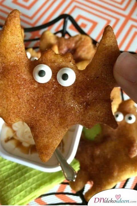 Halloween Snack Rezepte für Kinder - Frittierte Fledermäuse