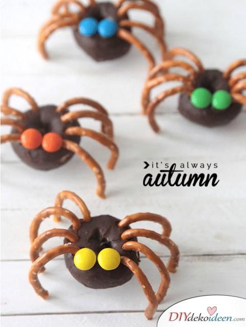 Halloween Snack Rezepte für Kinder - Doughnut-Spinnen