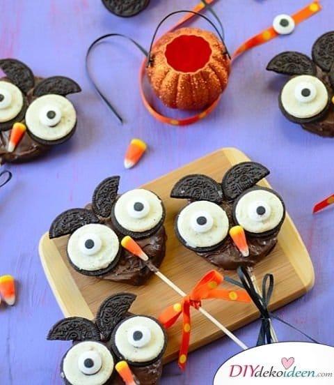 Halloween Snack Rezepte - Schoko-Apfel-Eulen