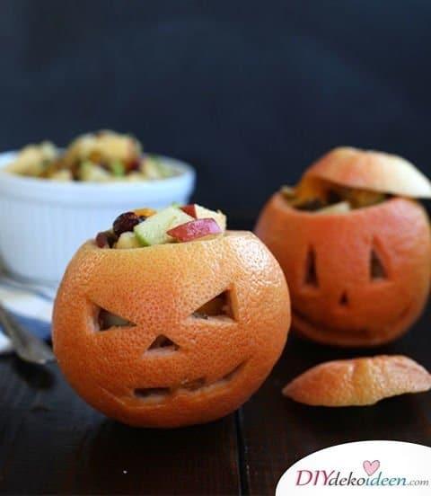 Halloween Snack Rezepte - Grapefruit-Kürbislaternen