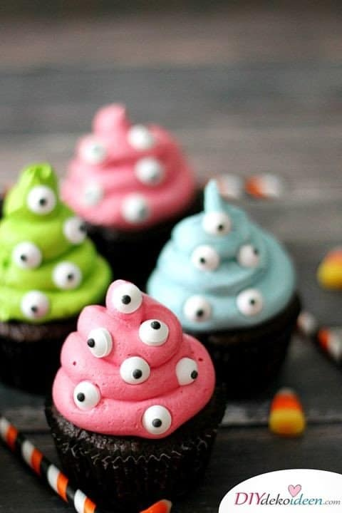Halloween Snack Rezepte - Monster-Cupcakes
