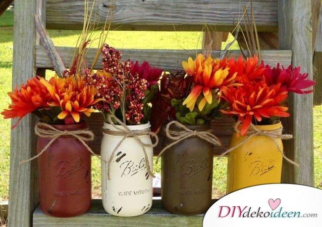 DIY Dekoideen - Halloween Veranda Deko - dekorieren Blumen