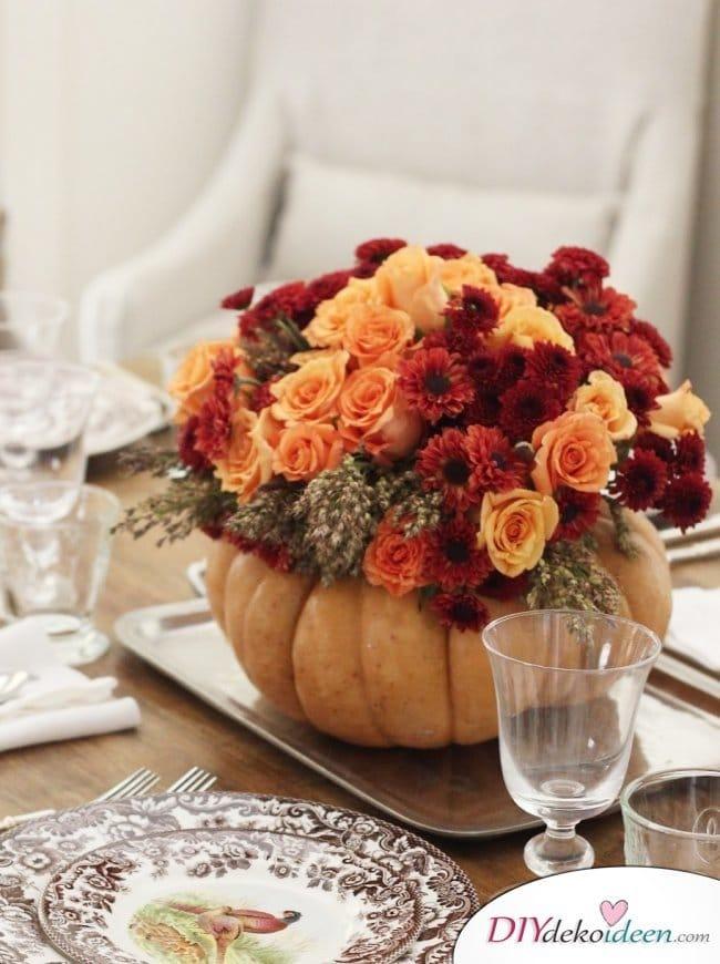 15 Herbst Tischdeko Ideen zum selber machen - Blumen Tischdeko DIY