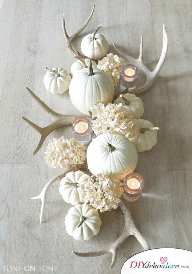 15 Herbst Tischdeko Ideen zum selber machen -Kürbis Tischdeko DIY