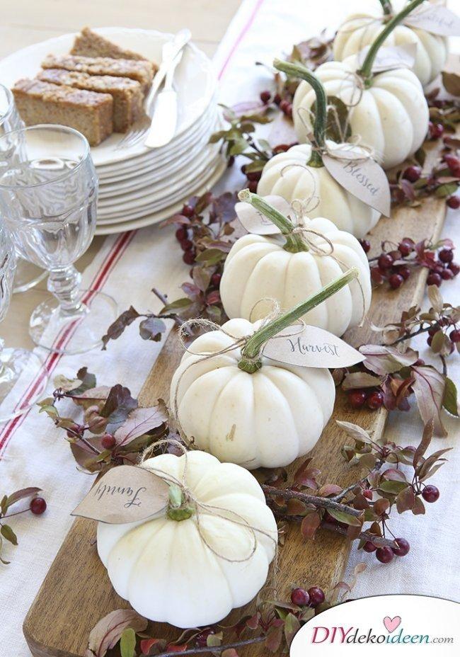 15 Herbst Tischdeko Ideen zum selber machen - Kürbisdeko Herbst