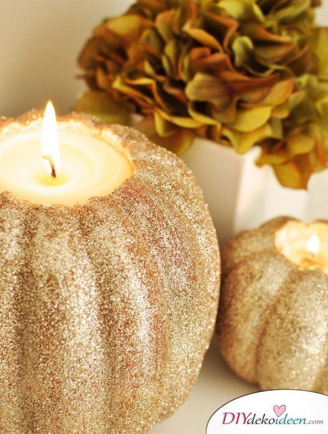 15 Herbst Tischdeko Ideen zum selber machen - basteln mit Kürbissen