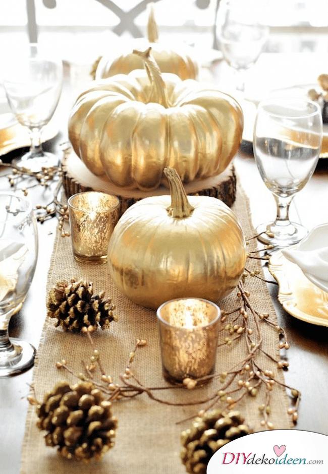 15 Herbst Tischdeko Ideen - Kürbisdeko basteln