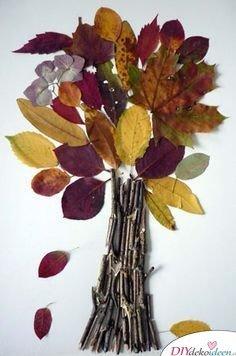 Herbstdeko basteln mit Blättern - basteln mit Kindern
