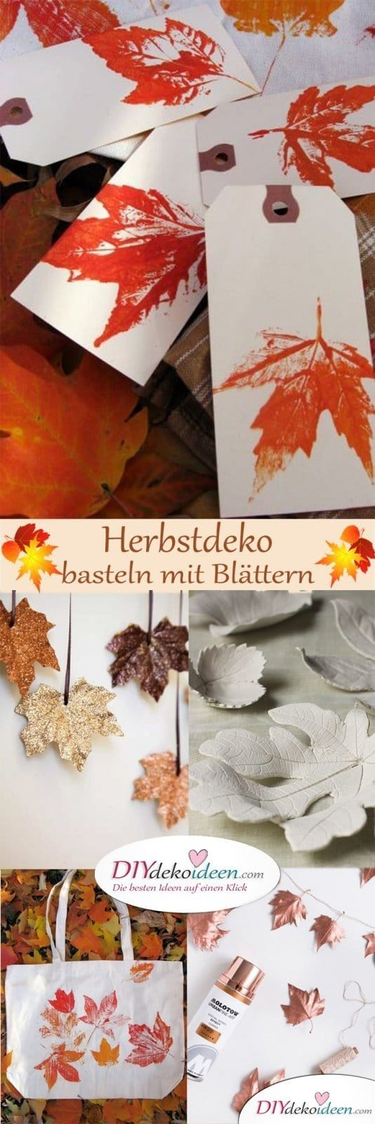 herbstdeko basteln mit bl ttern die sch nsten diy bastelideen. Black Bedroom Furniture Sets. Home Design Ideas