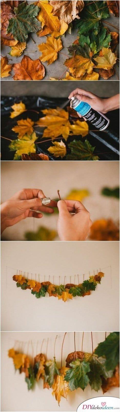 Herbstdeko basteln -DIY Bastelideen - Herbstblätter basteln