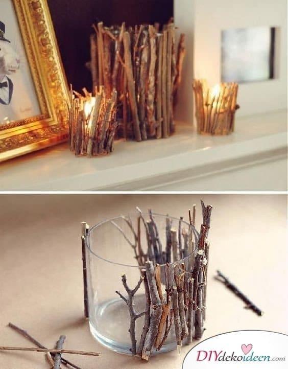 Herbstdeko basteln -DIY Bastelideen - DIY Kerzengläser
