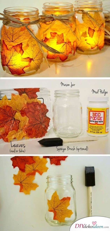 Herbstdeko selber machen - 15 DIY Bastelideen - Einmachgläser