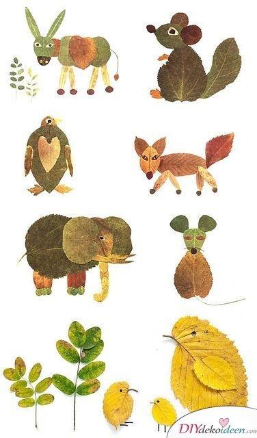 Herbstdeko selber machen - 15 DIY Bastelideen - Tierchen aus Blättern