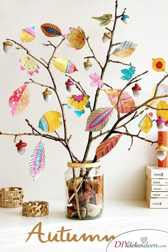 Herbstdeko selber machen - 15 DIY Bastelideen - Blatt Kunst