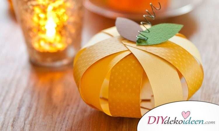 Herbstdeko selber machen - 15 DIY Bastelideen - Kürbis basteln
