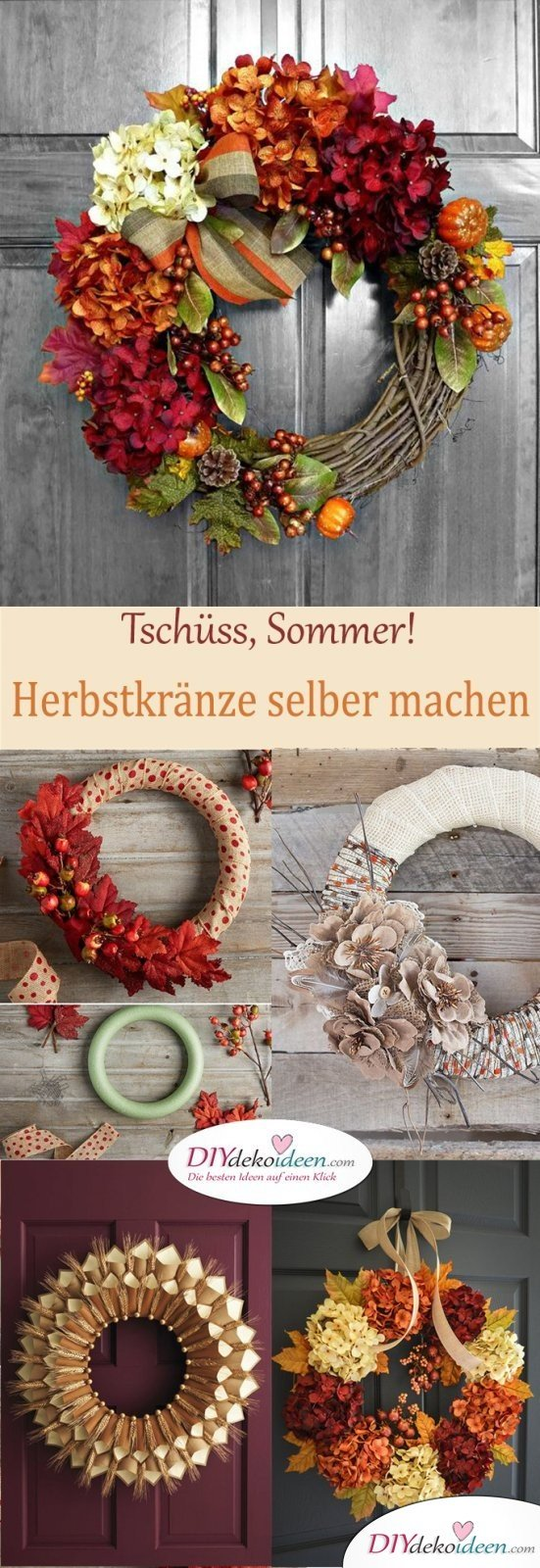 Herbstkränze selber machen zum Sommerende - 15 DIY Bastelideen