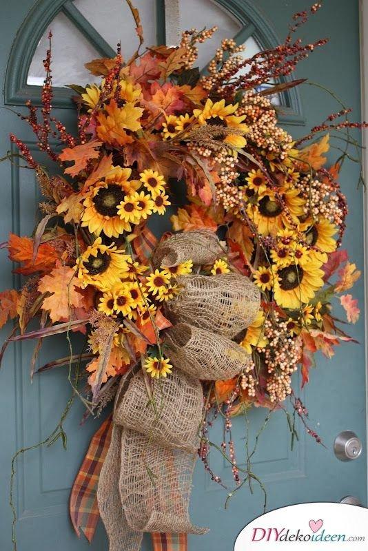 Herbstkränze selber machen - 15 DIY Bastelideen - Herbst dekorieren