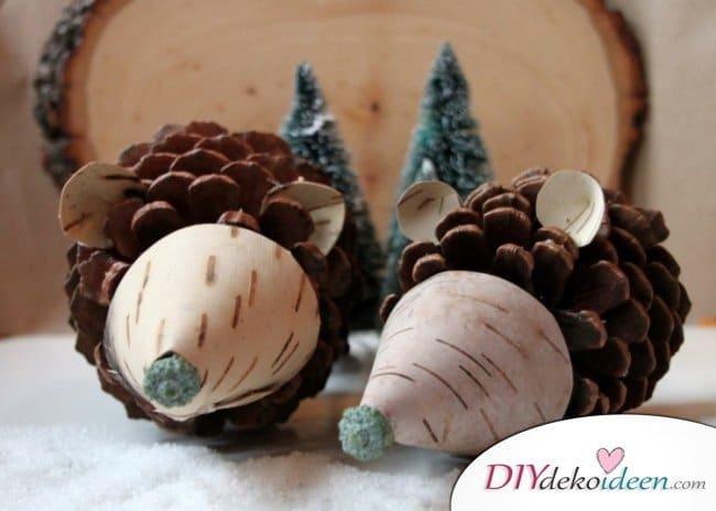 Basteln mit Tannenzapfen – Die 15 schönsten DIY Bastelideen - Tannenzapfen Igel