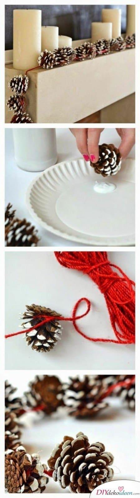 Basteln mit Tannenzapfen – Die 15 schönsten DIY Bastelideen - Zapfen Girlande